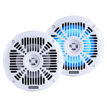 "Memphis Audio LED Marine Speaker Pack: 2 Pairs of MXA602SLW 6.5"" Marine Grade Coaxial Speakers, White With Blue LED"