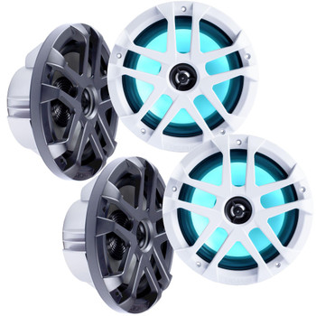 "Memphis Audio LED Marine Speaker Pack: 2 Pairs of MXA80L 8"" Marine Grade, Included Black and White Grills With RGB LED"