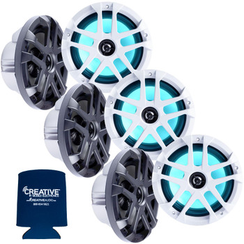 "Memphis Audio LED Marine Speaker Pack: 3 Pairs of MXA80L 8"" Marine Grade, Included Black and White Grills With RGB LED"