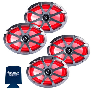Memphis Audio LED Marine Speaker Pack: 2 Pairs of MXA69L 6x9 Marine Grade, Included Black and White Grills With RGB LED - 2 Pair