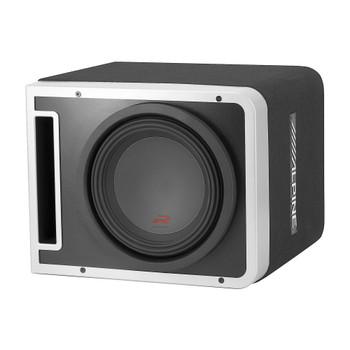 Alpine R-SB10V Pre-Loaded R-Series 10-inch Subwoofer Enclosure, Alpine R-A75M 750 Watt Mono Amplifier, and Wiring Kit