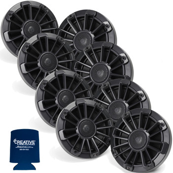 "MB Quart Bundle- 4 Pairs of NP1-116 6.5"" Premium Marine Speakers (Black Frame with Black, Silver and White Grills Included)"