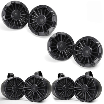 "MB Quart Bundle- 2 Pair NP1-116 Premium Waterproof 6.5 Inch Marine Speakers with 2 Pair NPT1-120 8"" Tower Speakers Premium Marine Speakers (Black Frame with Black, Silver and White Grills Included)"