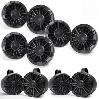 "MB Quart Bundle- 3 Pair NP1-116 Premium Waterproof 6.5 Inch Marine Speakers with 2 Pair NPT1-120 8"" Tower Speakers Premium Marine Speakers (Black Frame with Black, Silver and White Grills Included)"