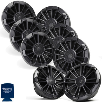"MB Quart Bundle- 3 Pair NP1-116 Premium Waterproof 6.5 Inch Marine Speakers with 1 Pair NP1-120 8"" Premium Marine Speakers (Black Frame with Black, Silver and White Grills Included)"
