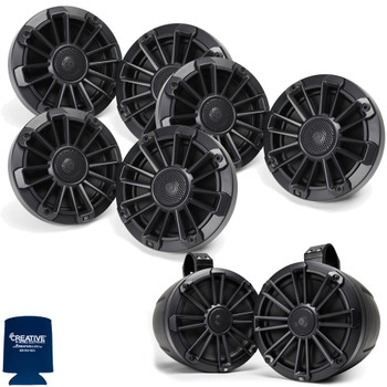 "MB Quart Bundle- 3 Pair NP1-116 Premium Waterproof 6.5 Inch Marine Speakers with 1 Pair NPT1-120 8"" Tower Speakers Premium Marine Speakers (Black Frame with Black, Silver and White Grills Included)"