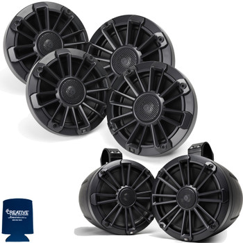 "MB Quart Bundle- 2 Pair NP1-116 Premium Waterproof 6.5 Inch Marine Speakers with 1 Pair NPT1-120 8"" Tower Speakers Premium Marine Speakers (Black Frame with Black, Silver and White Grills Included)"