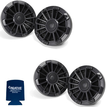 "MB Quart Bundle- 2 Pairs of NP1-116 6.5"" Premium Marine Speakers (Black Frame with Black, Silver and White Grills Included)"