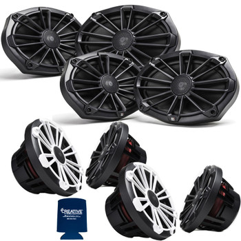 "MB Quart Bundle- 2 Pair NP1-169 Premium Waterproof 6x9 Inch Marine Speakers with 2 Pair NP1-120 8"" Premium Marine Speakers (Black Frame with Black, Silver and White Grills Included)"