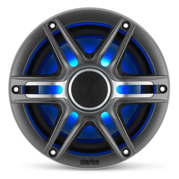 Clarion CMSP-651RGB-SWG 6.5-inch Coaxial Marine Speakers  with built-in RGB illumination  50W RMS power handling 1-inch (25 mm) silk dome tweeter Includes White & Gunmetal Sport Grilles