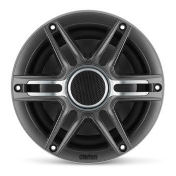 Clarion CMSP-651-SWG 6.5-inch Coaxial Marine Speakers 50W RMS power handling 1-inch (25 mm) silk dome tweeter Includes White & Gunmetal Sport Grilles