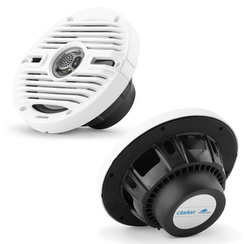 Clarion CMS-651-CWB 6.5-inch Coaxial Marine Speakers 30W RMS power handling 1/2-inch (13 mm) polymer dome tweeter Includes White & Black Classic Grilles