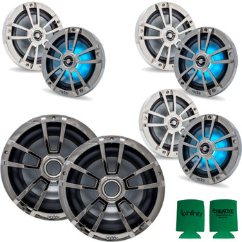 """Infinity 3 Pairs of 6MBLCR OEM Replacement Black Chrome 6.5"""" Marine Speaker and 2 10MBLCR 10"""" Marine Subwoofers"""