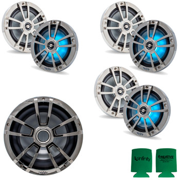 """Infinity 3 Pairs of 6MBLCR OEM Replacement Black Chrome 6.5"""" Marine Speaker and 1 10MBLCR 10"""" Marine Subwoofer"""