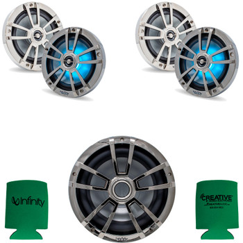 """Infinity 2 Pairs of 6MBLCR OEM Replacement Black Chrome 6.5"""" Marine Speaker and 1 10MBLCR 10"""" Marine Subwoofer"""