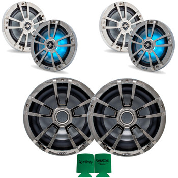 """Infinity 2 Pairs of 6MBLCR OEM Replacement Black Chrome 6.5"""" Marine Speaker and 2 10MBLCR 10"""" Marine Subwoofers"""