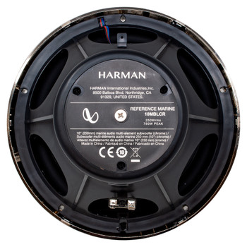 """Infinity 1 Pair of 6MBLCR OEM Replacement Black Chrome 6.5"""" Marine Speaker and 1 10MBLCR 10"""" Marine Subwoofer"""