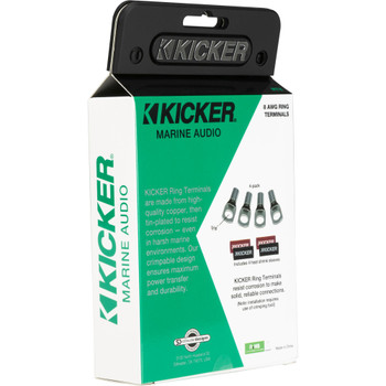 Kicker 47RT8 Nickel Plated 8awg 5/16' Ring Terminal 4 Pack
