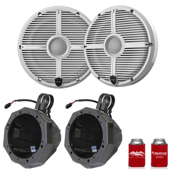 "Wet Sounds Recon6-XWW 6.5"" White Grill Marine Speakers with SSV US2-C65U-185 Black Speaker Pod with 1.85"" Roll Bar Clamps"