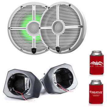 """Wet Sounds Recon6-XWW-RGB 6.5"""" White Grill RGB Marine Speakers with SSV RG4-F65U Ranger XP1000 2018 and up Front Speaker Pods"""