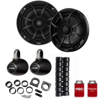 "Wet Sounds Recon6-BG 6.5"" Black Grill Marine Speakers with Kicker 12KMTES and KMTAP"