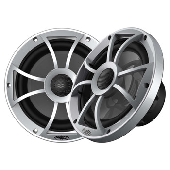 "Wet Sounds Recon6-S-RGB 6.5"" Silver Grill RGB Marine Speakers with SSV US2-C65U-175 Black Speaker Pod with 1.75"" Roll Bar Clamps"