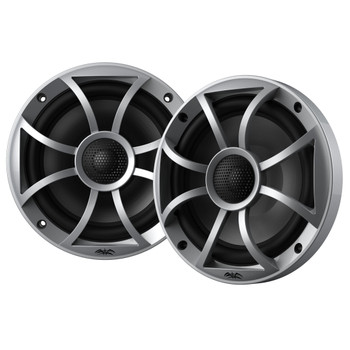 "Wet Sounds Recon6-S 6.5"" Silver Grill Marine Speakers with Kicker 12KMTES and KMTAP"