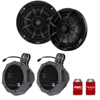 "Wet Sounds Recon6-BG 6.5"" Black Grill Marine Speakers with SSV US2-C65U-200 Black Speaker Pod with 2.00"" Roll Bar Clamps"