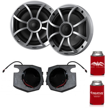 "Wet Sounds Recon6-S 6.5"" Silver Grill Marine Speakers with SSV RZ4-F65U 2014+ Polaris RZR Front Kick Pods"