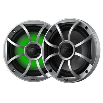 """Wet Sounds Recon6-S-RGB 6.5"""" Silver Grill RGB Marine Speakers with SSV RZ4-F65U 2014-2019 Polaris RZR Front Kick Pods"""