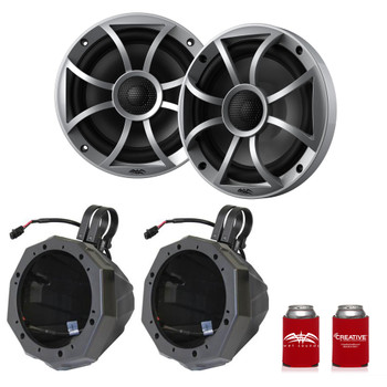"Wet Sounds Recon6-S 6.5"" Silver Grill Marine Speakers with SSV US2-C65U-185 Black Speaker Pod with 1.85"" Roll Bar Clamps"