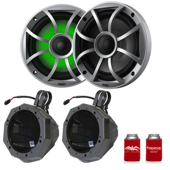 "Wet Sounds Recon6-S-RGB 6.5"" Silver Grill RGB Marine Speakers with SSV US2-C65U-185 Black Speaker Pod with 1.85"" Roll Bar Clamps"