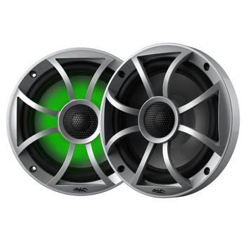 """Wet Sounds Recon6-S-RGB 6.5"""" Silver Grill RGB Marine Speakers with SSV RG4-F65U Ranger XP1000 2018 and up Front Speaker Pods"""