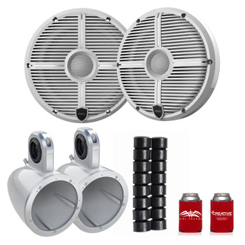 "Wet Sounds Recon6-XWW 6.5"" White Grill Marine Speakers with Kicker 12KMTESW and KMTAP"