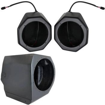 """SSV GN-F65U Polaris General 2016+ Front Unloaded Speaker Pods with GN-UD10U Under Dash 10"""" Sub Enclosure Unloaded"""
