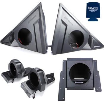 "SSV Polaris Slingshot SS-F65U 6.5"" Front Unloaded Speaker Pods with SS-B65U Rear 6.5"" Unloaded Speaker Pods, and (1) SS-BS10U behind seat 10"" Subwoofer Box Unloaded"