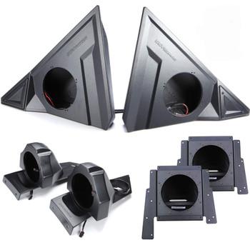 "SSV Polaris Slingshot SS-F65U 6.5"" Front Unloaded Speaker Pods with SS-B65U Rear 6.5"" Unloaded Speaker Pods, and (2) SS-BS10U behind seat 10"" Subwoofer Box Unloaded"