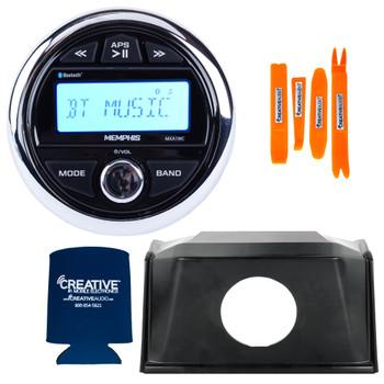 Memphis MXA1MC Gauge Style Media Center AM/FM/BT/AUX/USB With Stinger SPXRZRDASH2 19+ RZR Round Radio Dash Kit