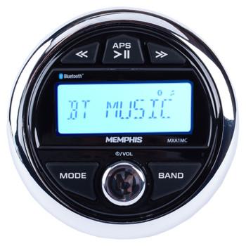 Memphis MXA1MC Gauge Style Media Center AM/FM/BT/AUX/USB With Stinger SEADASH3B Black Marine Dash Kit