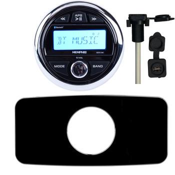 Memphis MXA1MC Gauge Style Media Center AM/FM/BT/AUX/USB With Stinger SEADASH3B Black Marine Dash Kit and Flush Mount USB/AUX