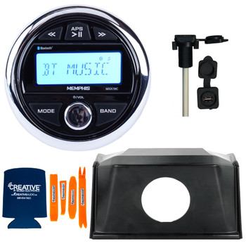 Memphis MXA1MC Gauge Style Media Center AM/FM/BT/AUX/USB With Stinger SPXRZRDASH2 19+ RZR Round Radio Dash Kit and Flush Mount USB/AUX