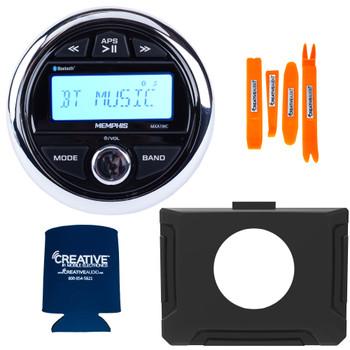 Memphis MXA1MC Gauge Style Media Center AM/FM/BT/AUX/USB With Stinger SPXRZRDASH 14-19 RZR Round Radio Dash Kit
