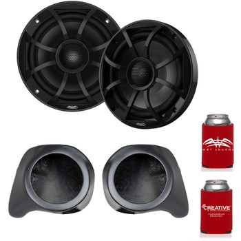 "Wet Sounds Recon6-BG 6.5"" Black Grill Marine Speakers with SSV Works YZ-F65U Front Speaker Pods Compatible With Yamaha YXZ1000R 2016+"