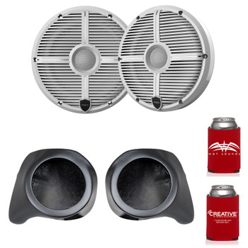 "Wet Sounds Recon6-XWW 6.5"" White Grill Marine Speakers with SSV Works YZ-F65U Front Speaker Pods Compatible With Yamaha YXZ1000R 2016+"
