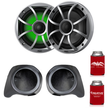 "Wet Sounds Recon6-S-RGB 6.5"" Silver Grill RGB Marine Speakers with SSV Works YZ-F65U Front Speaker Pods Compatible With Yamaha YXZ1000R 2016+"