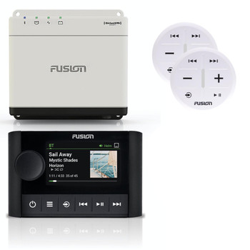 Fusion MS-WB670 Apollo Marine Hideaway System with MS-ERX400 Ethernet Wired Remote, and 2-ARX70W White Wireless Remote