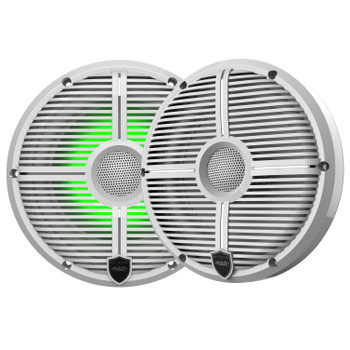 "Wet Sounds Recon6-XWW-RGB 6.5"" White Grill RGB Marine Speakers with SSV GN-F65U Front Speaker Pods Compatible With Polaris General 2016-2018"