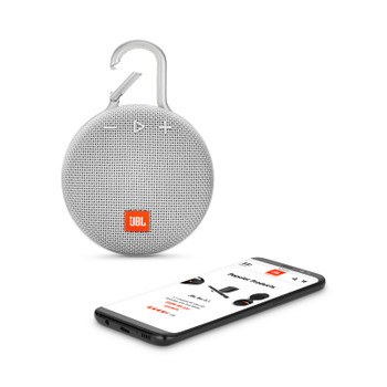 JBL CLIP 3 Portable Bluetooth® speaker – White, JBLCLIP3WHTAM