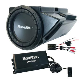"""NavAtlas NRZ10BPK Under Dash 10"""" Powersports Subwoofer with Amp Compatible With 2014-2020 Polaris RZRs"""