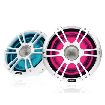 "Fusion Entertainment SG-FL772SPW 7.7"" 280 Watt Coaxial Sports White Marine Speaker with CRGBW - Pair"